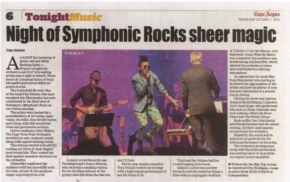 Night Of Symphonic Rocks Sheer Magic | Cape Argus October 3 2012