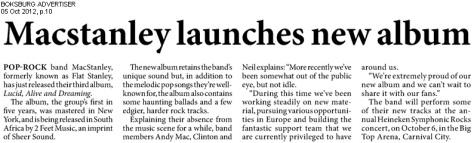 Macstanley launches new album | BOKSBURG ADVERTISER 05 Oct 2012